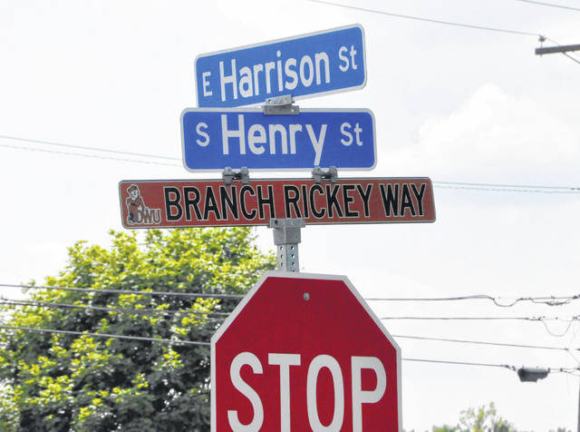 Pictured is one of the Branch Rickey Way signs posted on South Henry Street in Delaware. Prior to the Aug. 12 announcement of two new honorary street names, Branch Rickey Way and Pacer Way (Euclid Avenue) were the only two in the city.