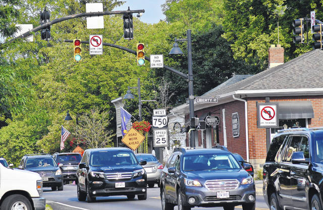 Pictured is traffic at the Liberty Street and Olentangy Street intersection (Four Corners) in downtown Powell just before 9 a.m. Wednesday. Powell City Council is considering new measures to keep traffic flowing through the hectic intersection.