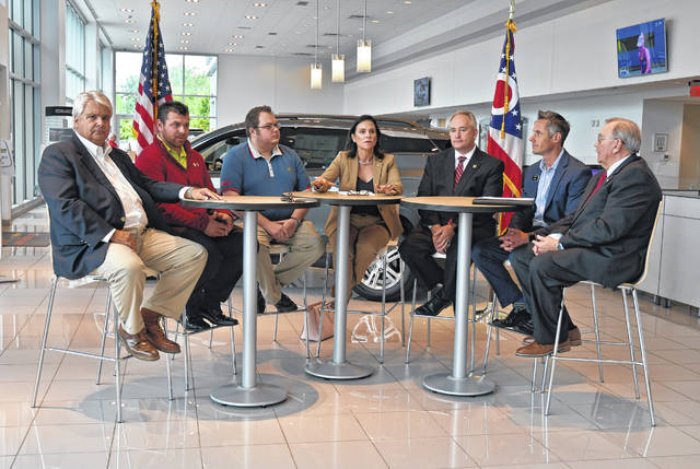 Attendees of the economic roundtable included, left to right, Marty Savko, Savko & Sons; Daniel Schwartz, vice president of Fishburn Services Inc of Morrow County; Elijah Duncan, CFO Fishburn Services Inc of Morrow County; Ohio Republican Party Chairwoman Jane Timken, Ohio Auditor Keith Faber; Ryan Gill, general manager of Chesrown Chevrolet Buick GMC; and George Kaitsa, Delaware County Auditor.