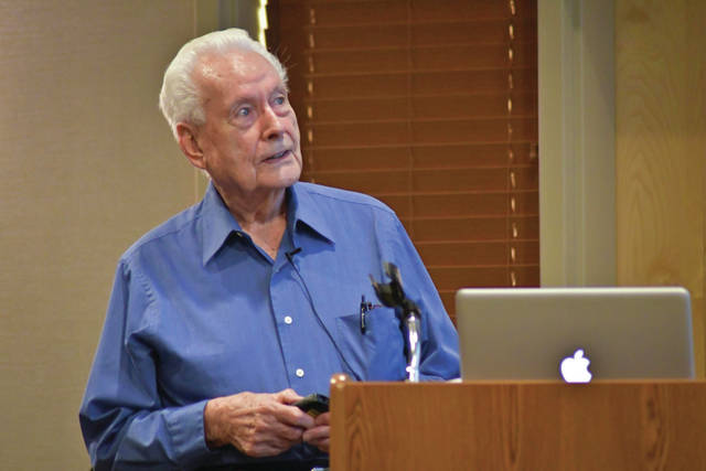 Glenn Beaber, a second lieutenant in the U.S. Army Air Corps during World War II, speaks to the crowd that gathered Thursday at Willow Brook at Delaware Run to hear him talk about his missions in a B-29 over Japan.