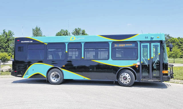 Pictured is the Delaware County Transit's new 29-foot Gillig bus.