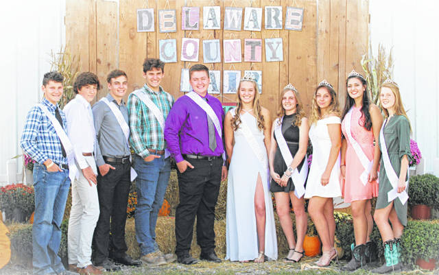 Pictured, left to right, is the 2019 Delaware County Junior Fair Royalty Court: Zachary Wecker, Jr. Prince; Donovan DeCoster, Jr. Prince; Andrew VanHoose, Sr. Prince; Cole Wecker, Sr. Prince; Caleb Durheim, Fair King; Kendall Sestili, Fair Queen; Katie VanHoose, Sr. Princess; Skyelar Rock, Sr. Princess; Paige Garrett, Jr. Princess; and Amber Perkins, Jr. Princess.