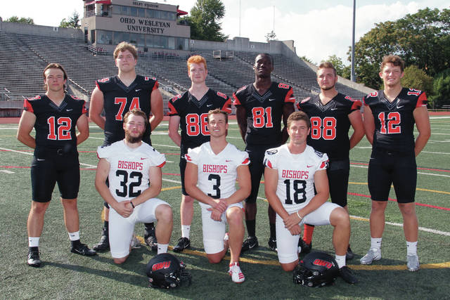 The 2019 Ohio Wesleyan football team has nine players from Delaware County sprinkled throughout the roster. They are, front, from left, Luke Hurlburt (Olentangy), Gabriel Miller (Buckeye Valley) and Anthony Sanfillipo (Hayes); and back, from left, Kellen Marshall (Buckeye Valley), Nick Azusenis (Olentangy Liberty), Brendan Miller (Buckeye Valley), Kofi Ansah-Tutu (Olentangy Orange), Tyler Shuster (Big Walnut) and Braydon Chitty (Olentangy).