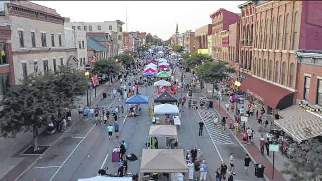 Pictured is North Sandusky Street in downtown Delaware during a past Main Street Delaware First Friday celebration.