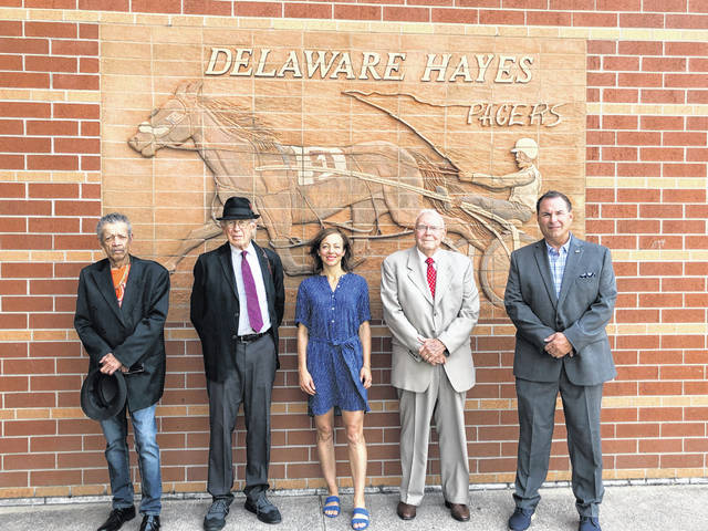 "Five of the six 2019 inductees to the Delaware Hayes High School Hall of Fame pose outside the high school Friday afternoon before the induction ceremony. From left to right: Barry King, Fred Carlisle, Emily Chenowith, Donald R. Keebaugh and Kevin Reed. Not pictured: Leonard ""Mike"" Clark. During the ceremony, each inductee spoke to students about their life and time at the district."