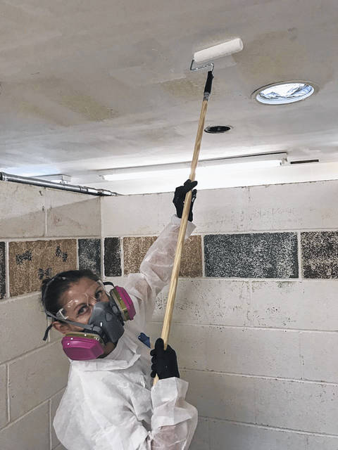 An unidentified volunteer paints the ceiling of an isolation area at the Humane Society of Delaware County.