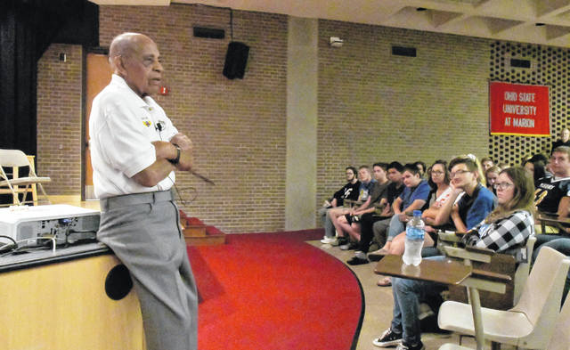 In two half-hour sessions Friday morning at The Ohio State University at Marion campus, Harold Brown, Ph.D., inspired high school students with tails from his childhood, his life as a member of the Tuskegee Airmen, his days as a WWII POW, and his career as an educator.