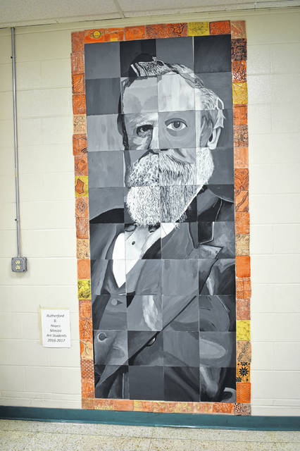 A mosaic of President Hayes hangs in the hall at the high school and was created by art students during the 2016-2017 school year. Principal Richard Stranges said Monday that when he started at Hayes High School, there was very little commemorative material about the school's namesake, which is something he has worked to change during his time at Hayes.