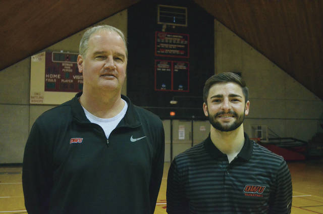 Nate Axelrod, right, who wrapped up his Battling Bishop career by winning the Jostens Trophy as the nation's most outstanding NCAA Division III men's basketball player, is back at OWU. He was recently announced as an assistant coach on Mike DeWitt's staff.