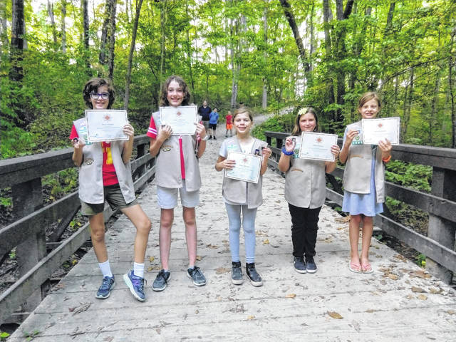 Big Walnut Girl Scout Troop 1565 members who earned their Bronze Award include (left to right): Brynn Drewyor, Julianna Maynard, Lauren Metzger, Keira Arterburn and Erica Staderman.