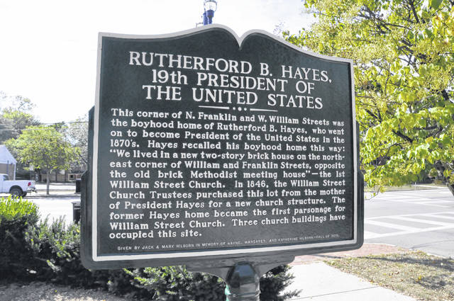 Rutherford B. Hayes' boyhood home once stood at the corner of North Franklin and West William streets in Delaware. Now occupied by the William Street United Methodist Church, the historical significance of the site is detailed in a marker located on the property.