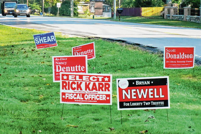 Campaign signs like these along state Route 315 have been popping up throughout the county as the Nov. 5 general election nears. Several candidates have reported their signs are being stolen, which has led to finger-pointing.