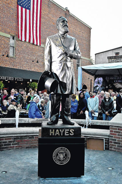 After the unveiling, the lights were turned to give the statue of President Rutherford B. Hayes a majestic glow.