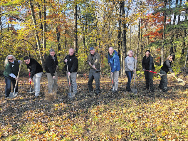 Pictured are the individuals who took part in Preservation Parks of Delaware County's ground-breaking ceremony held last week at Deer Haven Park on Liberty Road in Delaware. The site will be home to a new aviary.