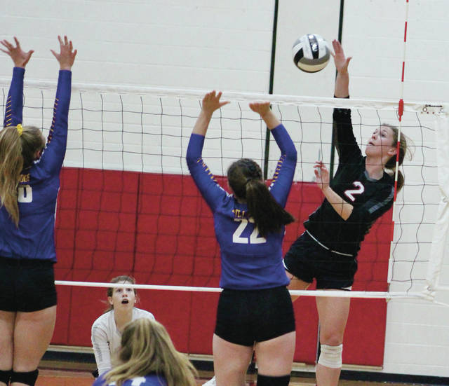 Delaware Christian's Lyssi Snouffer (2) goes up for a kill during the second set of Tuesday's Division IV district semifinal against East Knox. She had 17 kills and 20 digs in the Eagles' straight-set win.