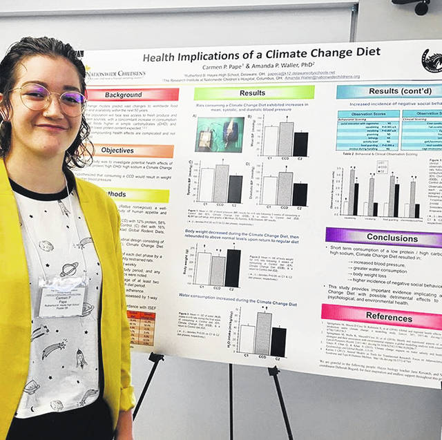 Hayes High School Junior Carmen Pape with her research about the effects a climate change diet had on rats. Pape has been selected to represent Ohio and attend the 2019 American Junior Academy of Science conference in Seattle next year.