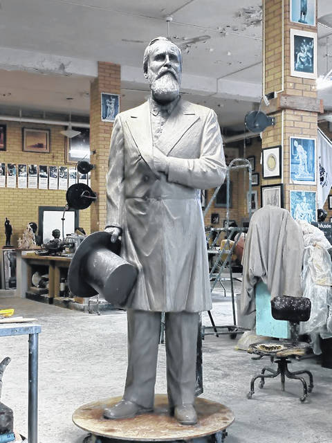 The Hayes statue completed in clay.