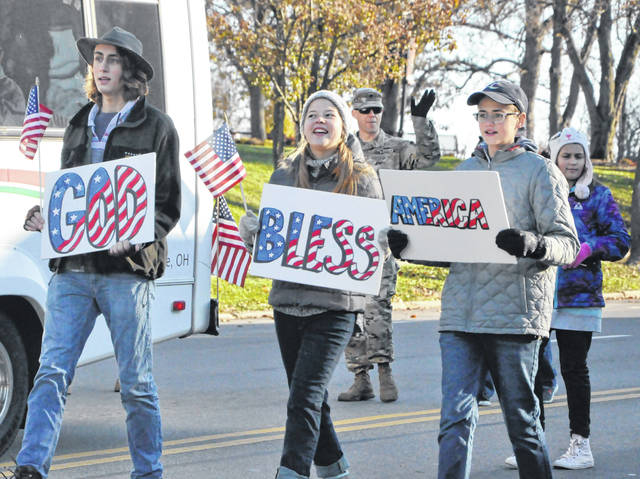 Pictured are several teenagers who took part in last year's Delaware Veterans Parade.