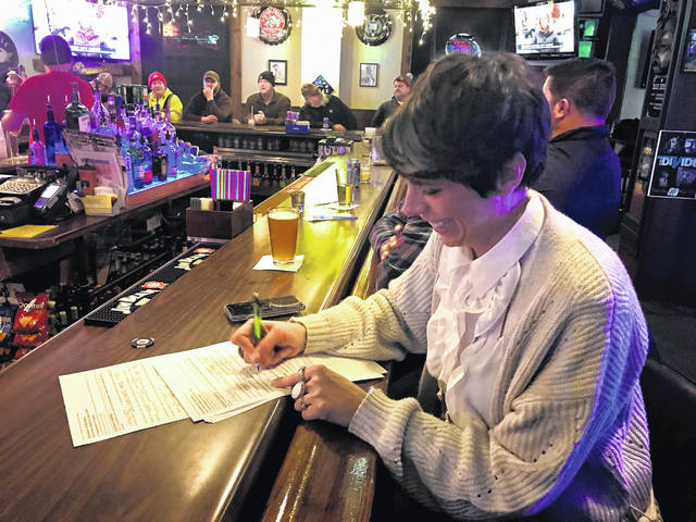 Delaware native Alaina Shearer (D), Liberty Township, kicked off her campaign for the 12th Congressional District seat during an event held Wednesday at Roop Brothers Bar in Delaware. Prior to taking the stage, Shearer sat at the bar to fill out her first candidacy petition to formally enter the race.