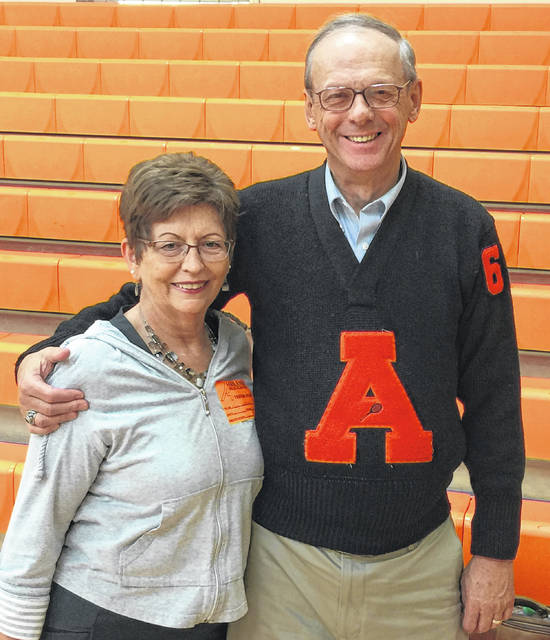 Prior to being honored by Ashland High School on Oct. 5, Powell resident John K. Hartman and his wife, Kay, were invited to take part in a pep assembly at the school on Oct. 4. Hartman is pictured donning his tennis varsity letter sweater from 1963.