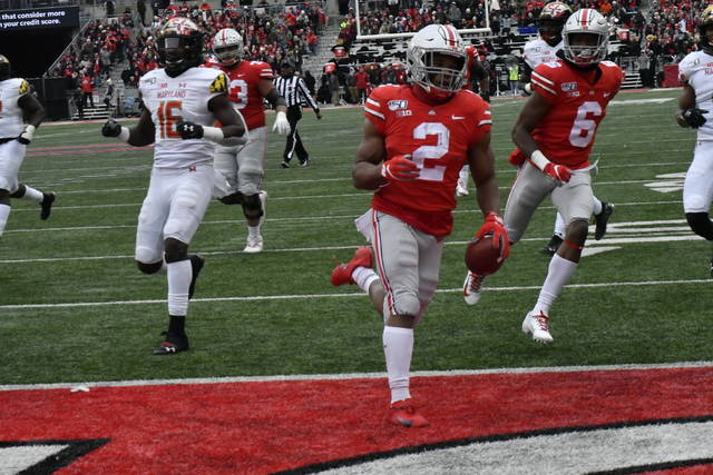 Ohio State running back J.K. Dobbins finds the end zone for a first-half touchdown against Maryland.