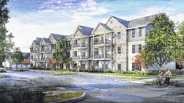 An artist's rendering of a proposed extended stay hotel on Fourwinds Drive in Berkshire Township.