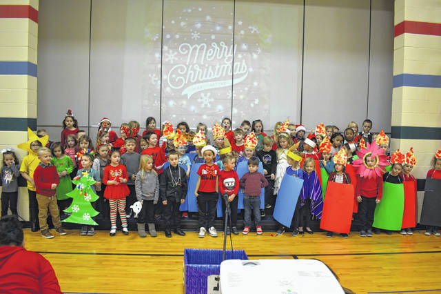 Kindergarten students, organized by teacher Lauren Bossick-Skillen, sang songs and gave speeches about Christmas, Hanukkah, Kwanzaa and Los Posadas, the major holidays celebrated in December.