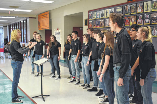 Hayes Singers perform at the Holidays at Hayes event held Dec. 7. Director Dara Gillis said the singers have 20 singing engagements in the month of December, much higher than previous years.