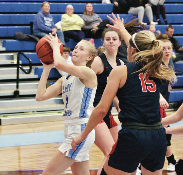 Olentangy Berlin's Maddie Goodman puts up a shot from close range during Wednesday's non-league showdown against visiting Bishop Hartley.