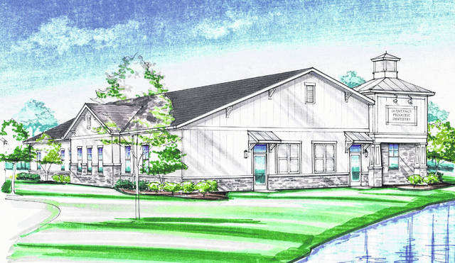 The southwest corner of the Liberty Road and Seldom Seen Road intersection will soon be home to a commercial development featuring six buildings. Pictured is a rendering of one of those buildings, which will be home to Olentangy Pediatric Dentistry.