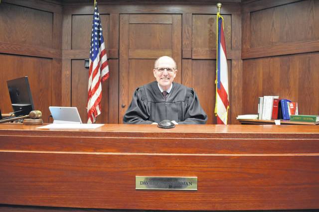 Delaware Municipal Court Judge David Sunderman sits at the bench in his courtroom.