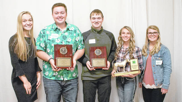 Pictured are the 4-H members who were recognized during the banquet. They are, left to right, Kendall Sestili, Caleb Durheim, Joshua Herron, Maggie Cain and Heather Cade.