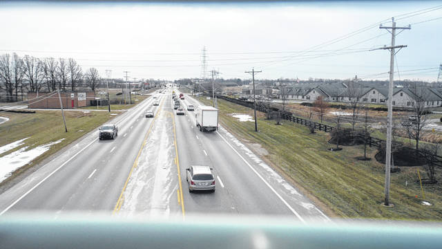 The view of U.S. Route 23 southbound as seen from the Orange Township bridge next to the Orange Branch of the Delaware County District Library.