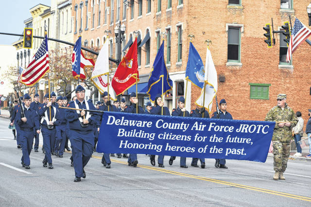 The Delaware County Air Force JROTC in the 2019 Veterans Day Parade Nov. 10, 2019. Anible has overseen the cadets in the program since 2004 and is the program's longest serving instructor.