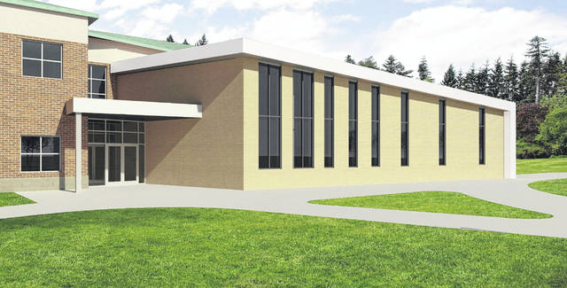 Pictured is a rendering of the proposed addition to Dempsey Middle School in Delaware. While the design of the addition isn't expected to change, the exterior building materials have yet to been finalized. This rendering shows a brick facade, while another version was presented with a stonewood shadwell oak facade.