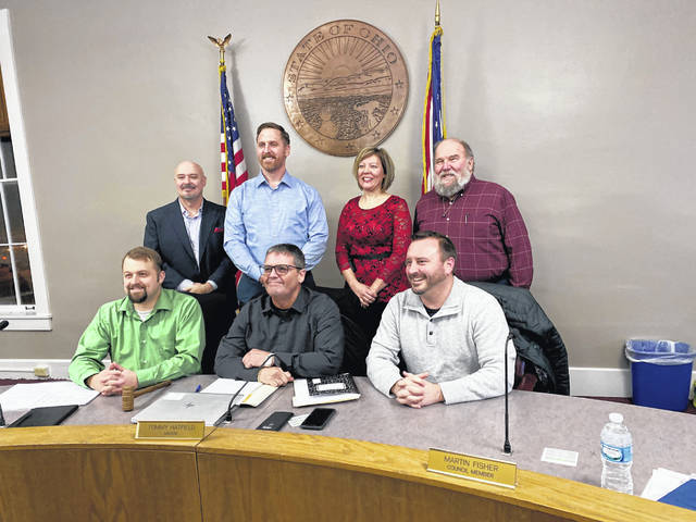 The Sunbury Village Council in 2020, left to right: Damin Cappel, Tim Gose, Joe St. John, Tommy Hatfield, Cindi Cooper, Martin Fisher and Dave Martin.