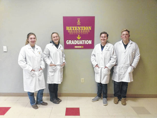 Buckeye Valley High School's state winning Agricultural Biotechnology Career Development Events Team. Pictured, left to right, are Skyelar Rock, Juliana Andres, Grant Skinner and Bryce Smith.