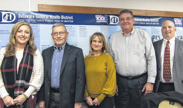 Pictured are several members of the Delaware General Health District Board of Health. They are, left to right, Amy Howerton, Pat Blaney, Margie Fleisher, George Wisener and David Karr. Other board members not pictured include Mark Hickman, Dolores Smith and Walter Threlfall.