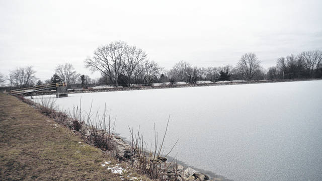 One of Sunbury's above-ground reservoirs was starting to freeze over earlier this week.