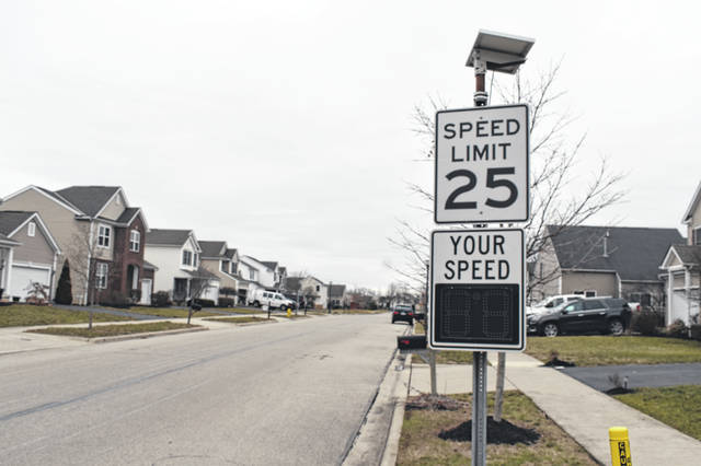 A speed sign on Cobblestone Drive in Delaware is one of the measures already put in place by the City of Delaware Police Department to try and reduce speeding on the road.