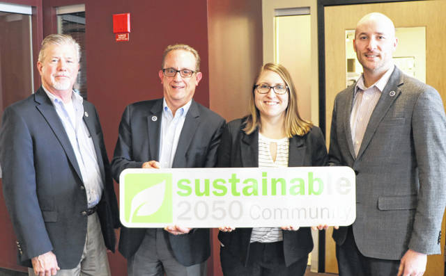 Pictured left to right are Delaware Vice Mayor Kent Shafer, City Manager Tom Homan, City Watershed and Sustainability Coordinator Caroline Cicerchi, and City Public Utilities Director Blake Jordan.
