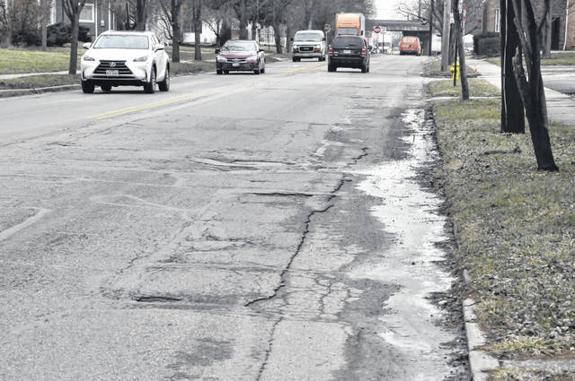 Pictured is East Central Avenue between Wade and Foley streets in Delaware. Pending approval by Delaware City Council, Central Avenue will be resurfaced this year between Troy Road and The Point.