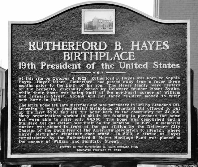 Pictured is the newly erected historical marker commemorating the birthplace of Rutherford B. Hayes, the 19th president of the United States.