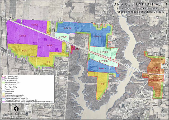 A Berlin Township alternate land use exhibit map dated Oct. 24, 2019.