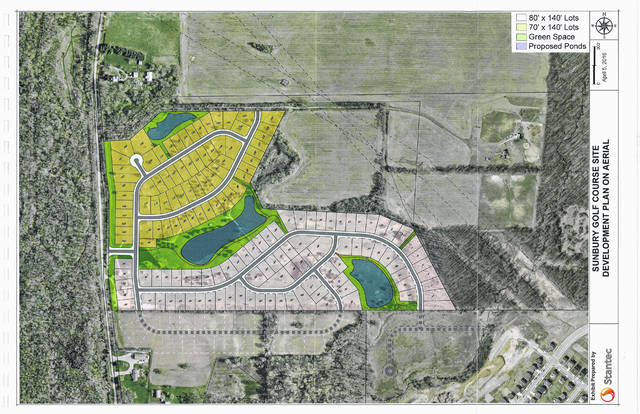 The development plan for the Golf Course Road site is shown in this aerial drawing.