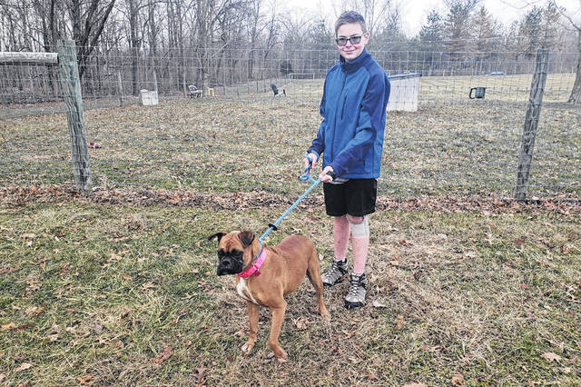 For his Eagle Scout project, Garrett Myers (pictured), a sophomore at Hayes High School, is working to upgrade the K9 facilities at the Humane Society of Delaware County.