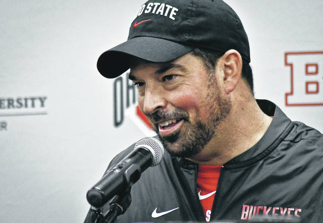 Ryan Day meets with the media following a fall camp practice last August.