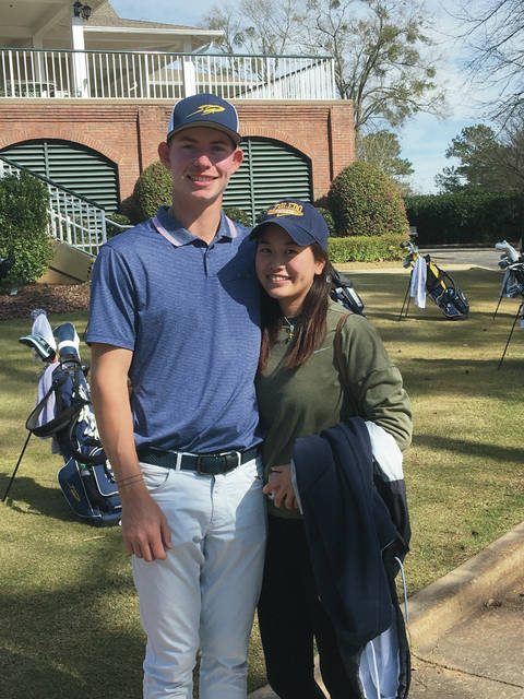 Delaware Hayes and University of Toledo standout Grant Godfrey is pictured with his girlfriend, Kokoro Chishaki, during a collegiate tournament earlier this month. With colleges around the country shut down to limit the spread of coronavirus, Godfrey, who was in his last semester at Toledo, decided to go pro.