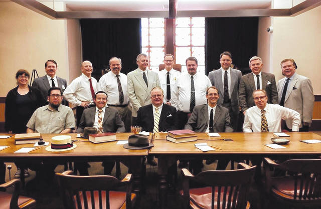 """The cast of Arena Fair Theatre's production of """"12 Angry Men"""" when the cast first performed the show in 2018. The cast recently reunited and planned to perform the show again for the Ohio State Bar Association and for the Delaware community, but the performances were canceled due to COVID-19."""