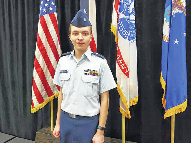 Pictured in uniform is Big Walnut High School freshman Cayden Smith, who was recently presented with the Billy Mitchell Award by the Civil Air Patrol's OH 139, Columbus Composite Squadron.